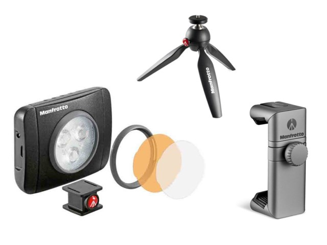 Manfrotto Pöytäjalusta Pixi + LED-valaisin Lumie Muse 3 +