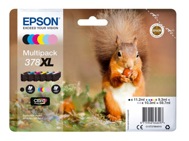 Epson Mustepatruuna 378 XL Claria Photo HD multipack