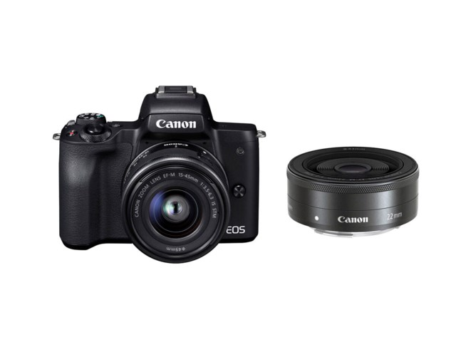 Canon EOS M50 musta + EF-M 15-45/3,5-6,3 IS STM + EF-M 22mm f/2 STM