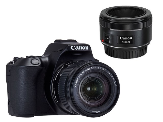 Canon EOS 250D svart + EF-S 18-55mm f/4-5,6 IS STM + EF 50mm f/1.8 STM