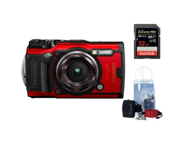 Olympus Tough TG-6 Röd +Adventure kit + 32GB minneskort
