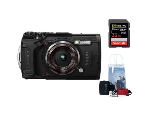Olympus Tough TG-6 Punainen +Adventure kit + SDHC Extreme Pro 32GB 95MB/s UHS-I U3 V30