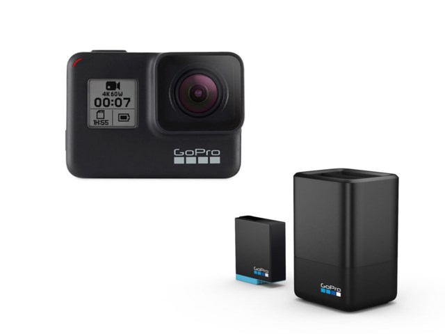GoPro Hero 7 Black + Dual charger + extra batteri