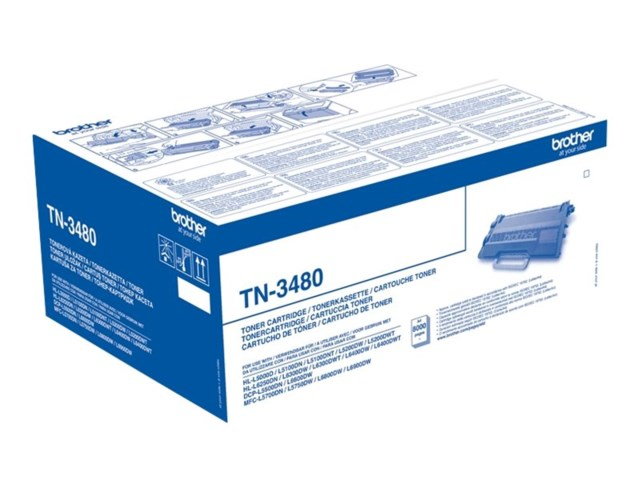 Brother TN-3480 Toner 8000 sidor - HL-L5000, L5100, L5200 MFC-5700, L6450, L6800, L6900, L6950, L6970