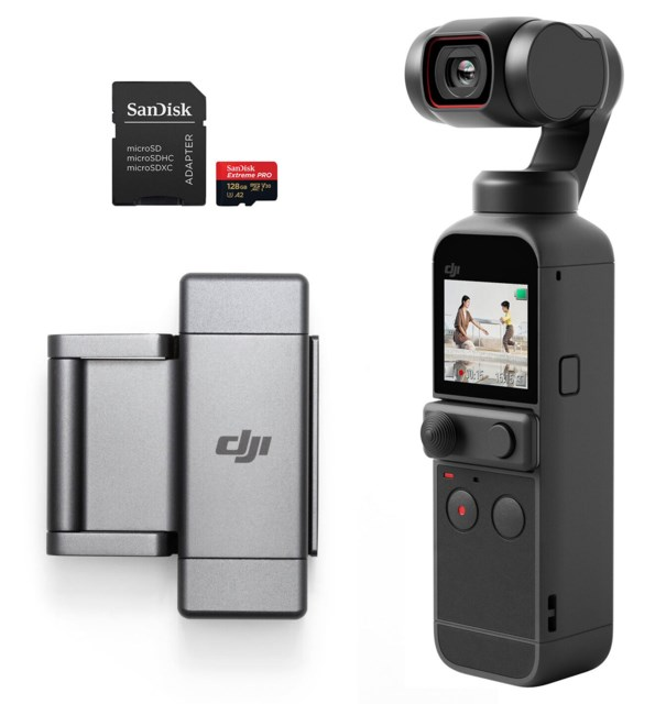 DJI Pocket 2 + Phone Clip + 128GB muistikortti