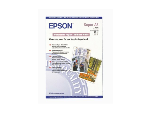 Epson Watercolor Radiant White A3+ 190gr 20blad