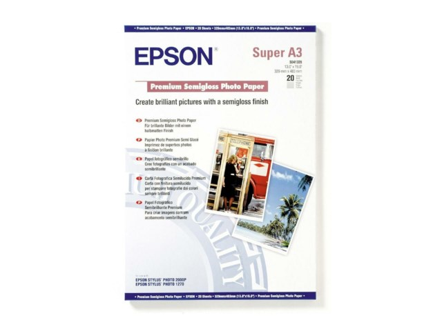 Epson A3+ Premium Semigloss Photo Paper 20 sivua